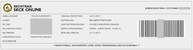 Kartu Registrasi SKCK Online