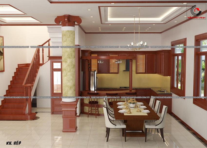 Mẫu thiết kế biệt thự nhà vườn 1 tầng đẹp hiện đại dt 150m2 Phong-bep-1