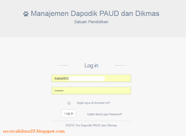 rekan Operator Dapodik di Seluruh Indonesia khusus Operator Dapodik Paud Panduan Penggunaan Dapodik PAUD 2019 v.3.3.0 T.A 2018/2019