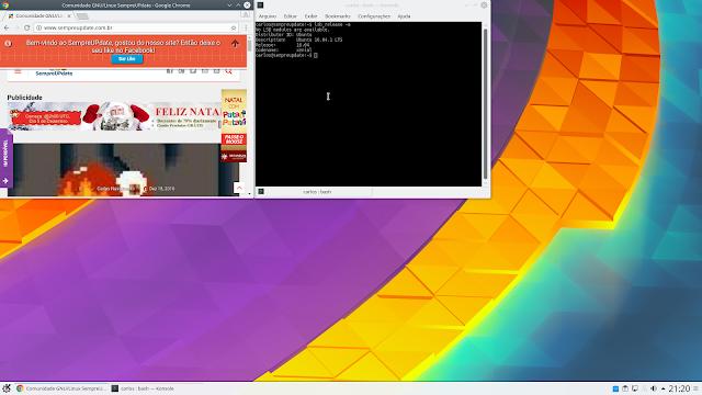 KDE Plasma 5.8 LTS sendo executado no Ubuntu 16.04