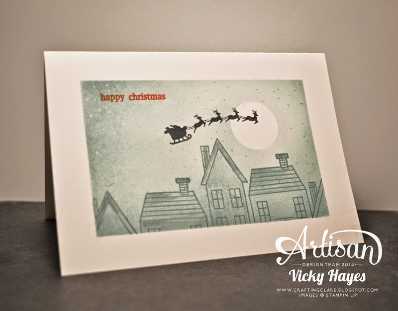 Stampin' Up Holiday Home Christmas card using masking and sponging techniques