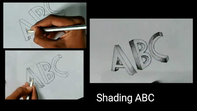 How to shade words, shading ABC, graphite pencils drawing, 3d drawing of words, easy to draw, drawing for kids, learn to draw words