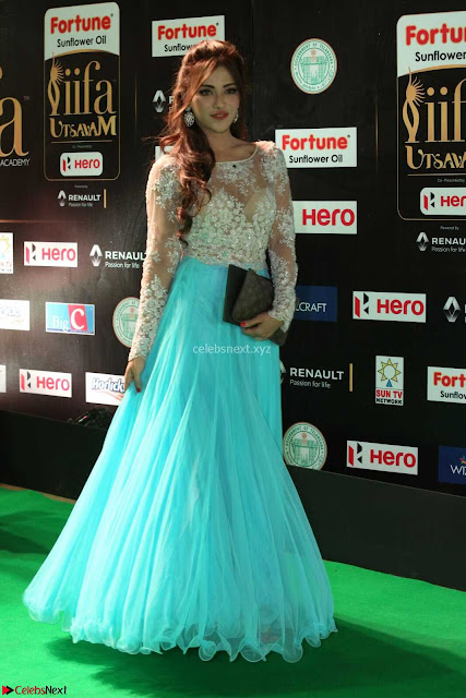 Angela Krislinzki in a lovely Neon Blue Skirt at IIFA Utsavam Awards 2017  Day 2  Exclusive 02.JPG