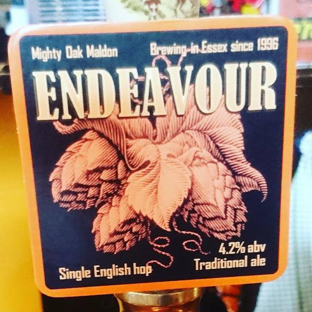 Essex Craft Beer Review: Endeavour from Mighty Oak real ale pump clip
