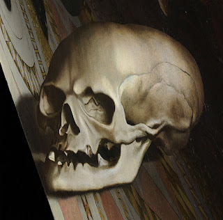 Anamorphic skull, the Ambassadors by Hans Holbein the Younger