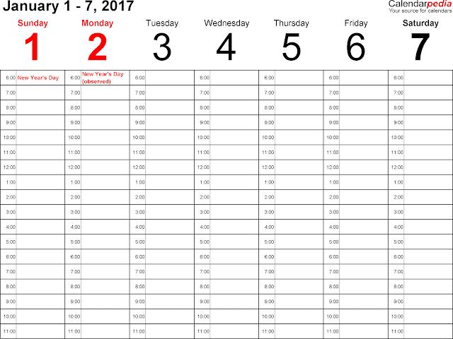january 2017 calendar template