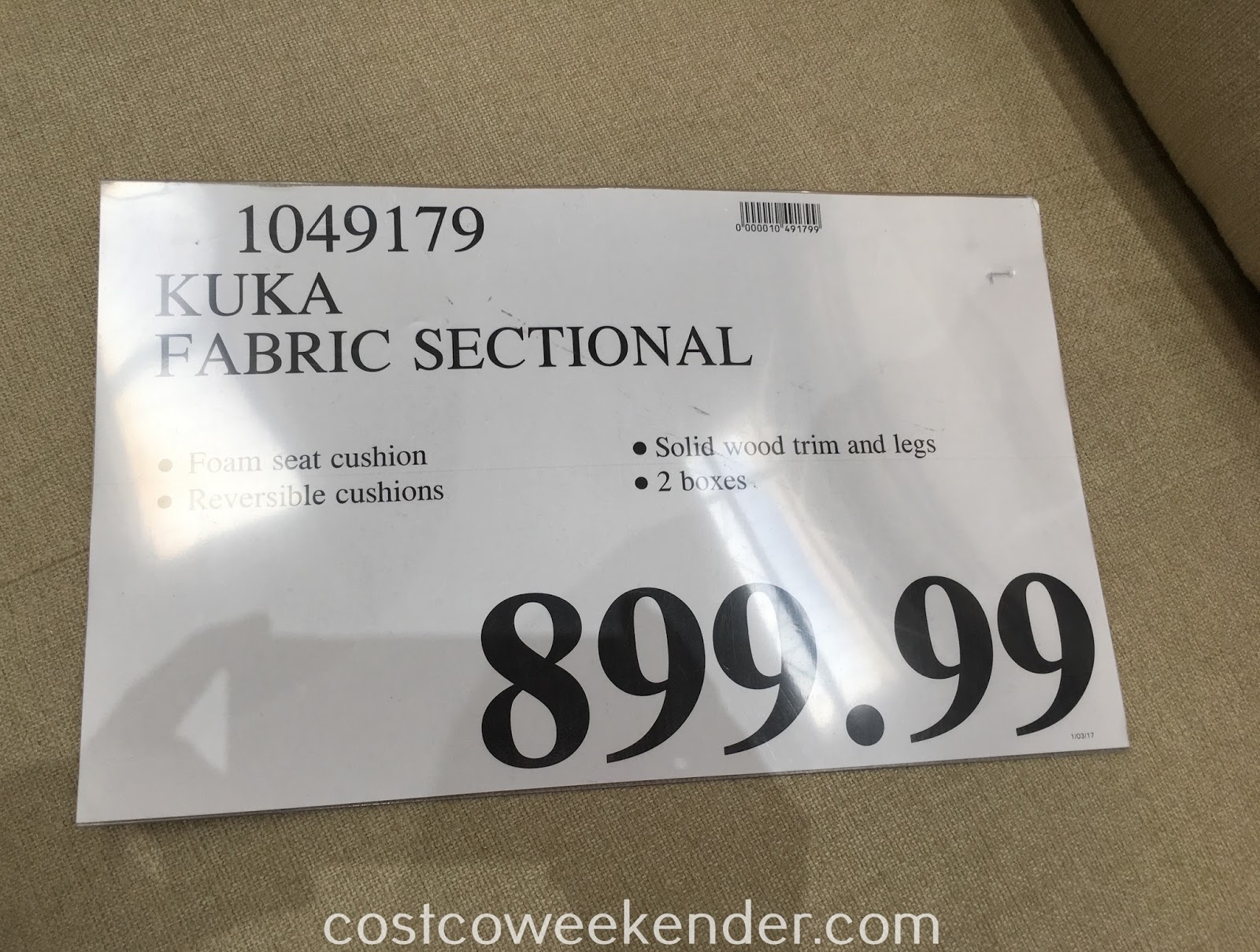 Deal for the Kuka Home Fabric Sectional at Costco