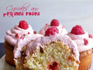 Cupcakes aux pralines roses, chantilly et framboises