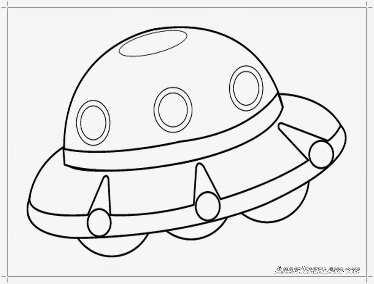 gambar mewarnai pesawat UFO