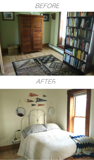 Before and After Bedroom Transformation: a little paint can go a long way!  Light, bright, and white!  by oilandblue