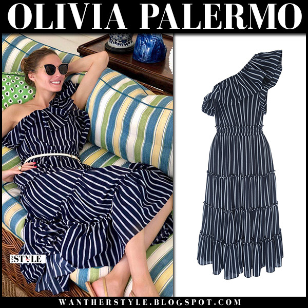 Olivia Palermo in navy striped one shoulder misa los angeles delilah dress and sunglasses summer style august 3