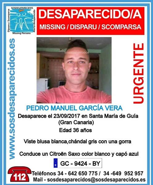 Desaparecido en Santa María de Guía, Gran Canaria Pedro Manuel García Vera