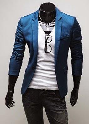 Blazer Top Fashion Masculino - Um Botão - Azul Escuro