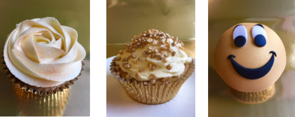 3 different gold cupcakes