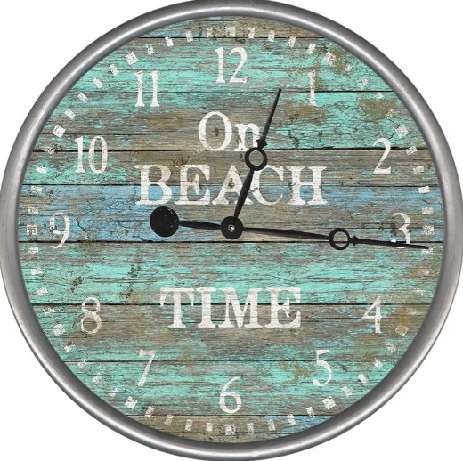 On Beach Time Wood Wall Clock
