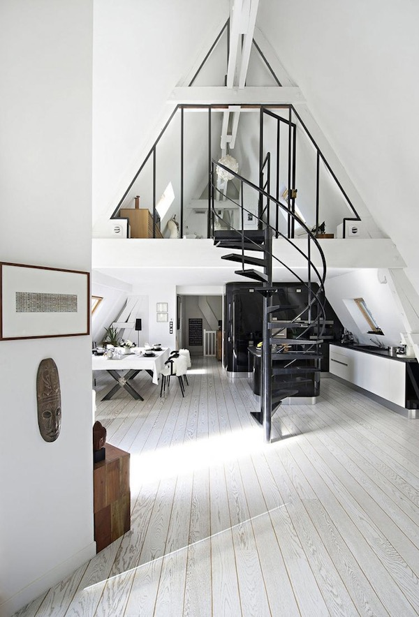 An White Attic Conversion With Details In Paris