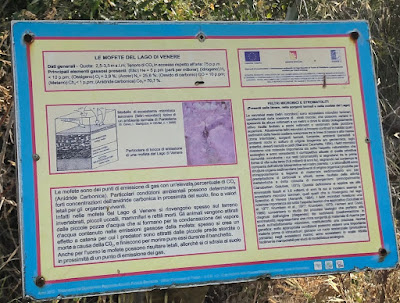 A sign describing mofette - discharges of carbon dioxide - on Lago Specchio di Venere on Pantellieria.