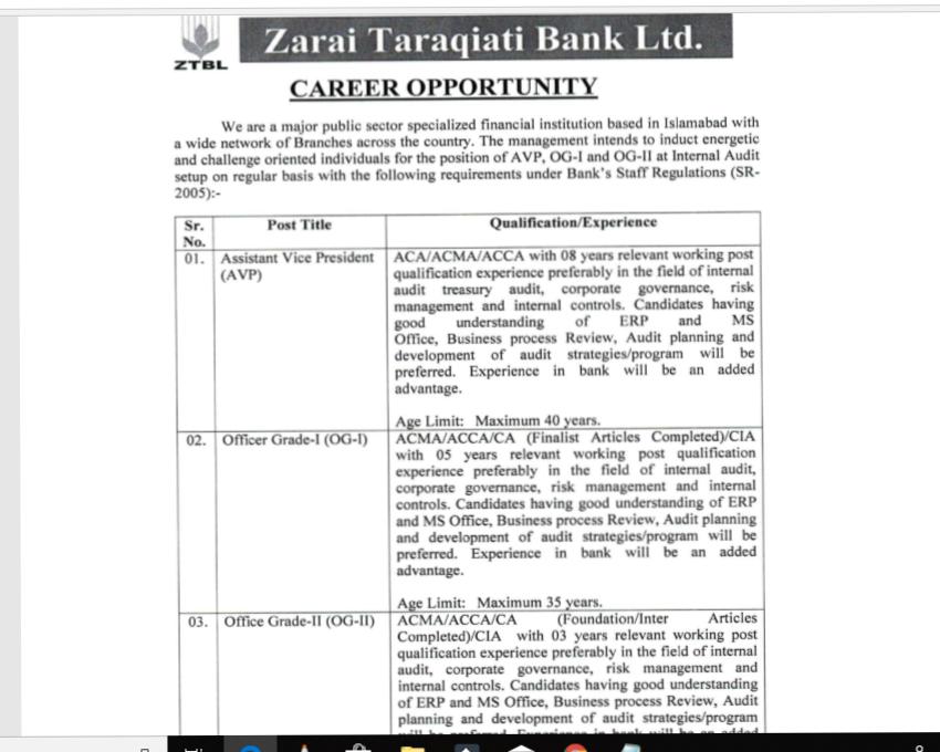 ZTBL Jobs 2019 Apply Online Zarai Taraqiati Bank Limited. ZTBL (Zarai Taraqiati Bank Ltd.)