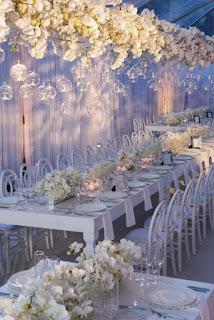 decorazione sala per matrimonio fai da te con bicchieri sospesi