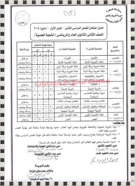 جدول إمتحانات المرحلة الثانوية بمحافظة المنوفية 2018 أخر العام ، الفصل الدراسى الثانى