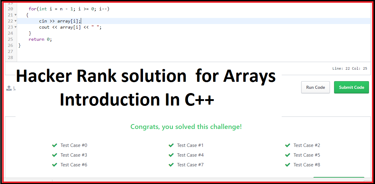 Hacker Rank solution  for Arrays Introduction In C++