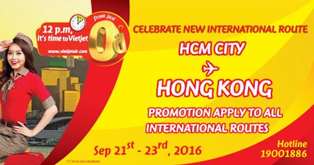 越捷航空 新航線!香港飛 胡志明市 HK$0起,明日中午1時開賣!