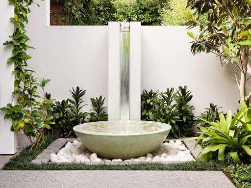 Desain Taman Depan Rumah Dengan Air Mancur