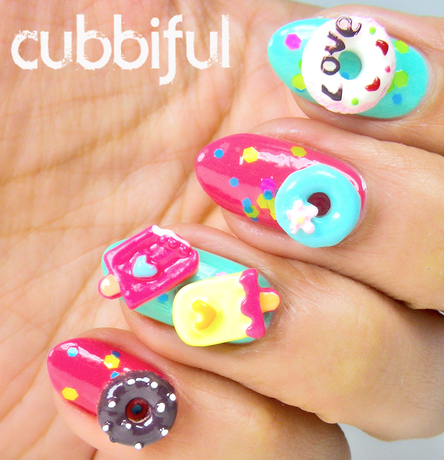 cubbiful: Donuts and Icecream Nail Art - LadyQueen.com Review