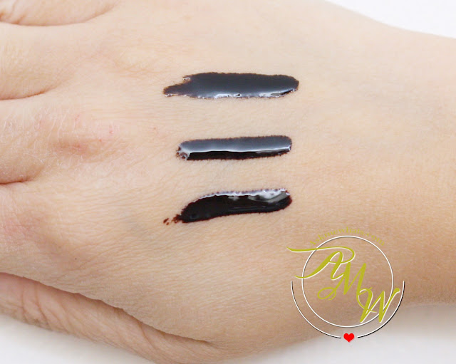 a swatch photo of K-Palette Eyebrow Tint Review in shades Light Brown, Natural Brown and Mocha Brown.