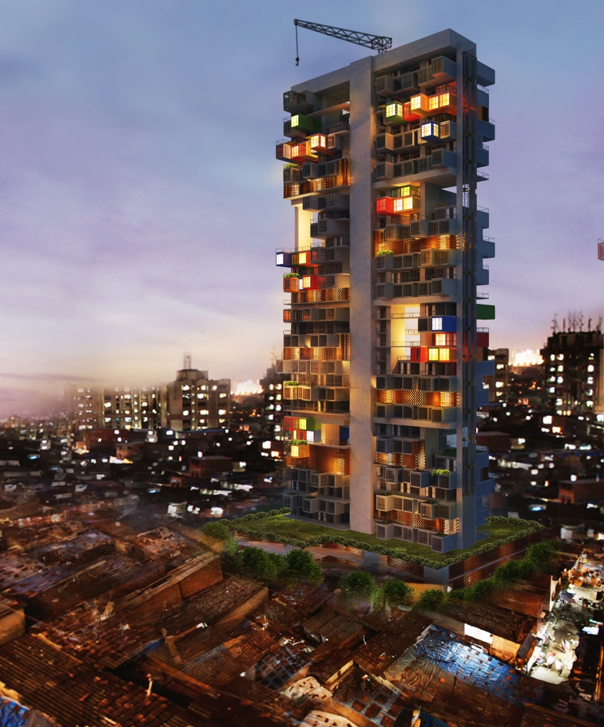 10-Night-Time-View-Ganti-and-Associates-Architecture-Recycled-Container-Skyscraper-Homes-www-designstack-co