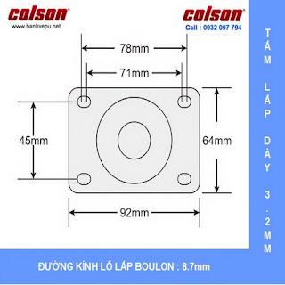 Bảng vẽ kích thước tấm lắp bánh xe cao su càng xoay có khóa chịu tải 80kg | STO-4856-448BRK4