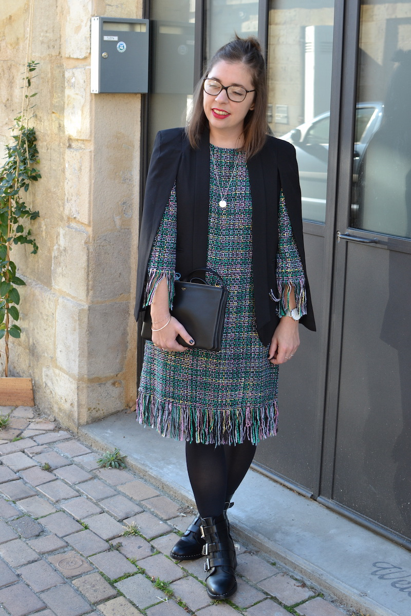robe tweed et veste noir Sheinside, trio bag céline, collier l'atelier d'amaya, bottines Pimkie