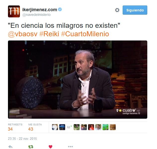 El supositorio el reiki en cuarto milenio for Twitter cuarto milenio