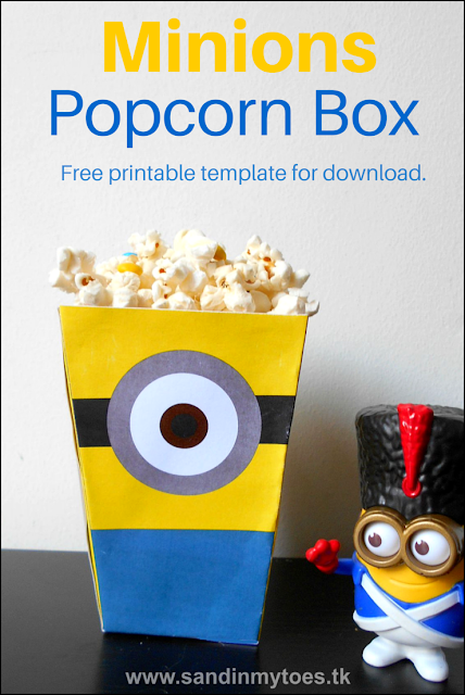 Watch your favourite Minions movie with this popcorn box you can make with a free printable template.