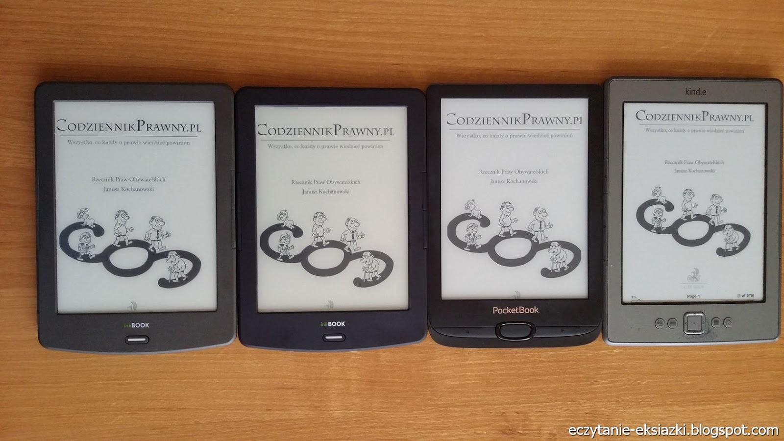 InkBOOK Classic 2, InkBOOK Lumos, PocketBook Basic Lux 2, Kindle Classic – porównanie ekranów