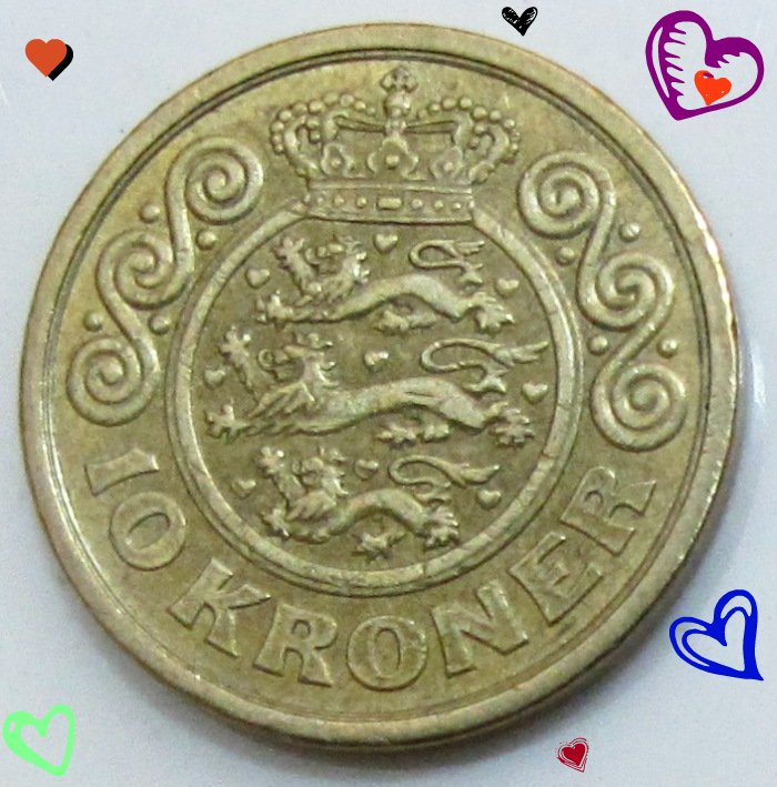 10 Kroner Lions Surrounded By 9 Hearts With A Crown