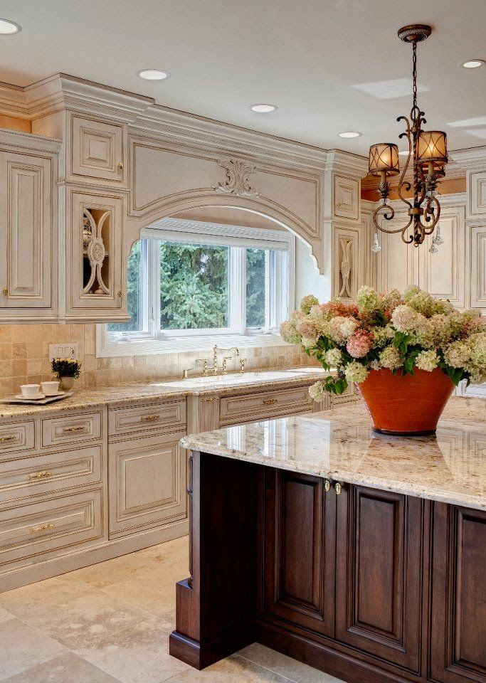 Antique White Kitchens with Dark Cabinets