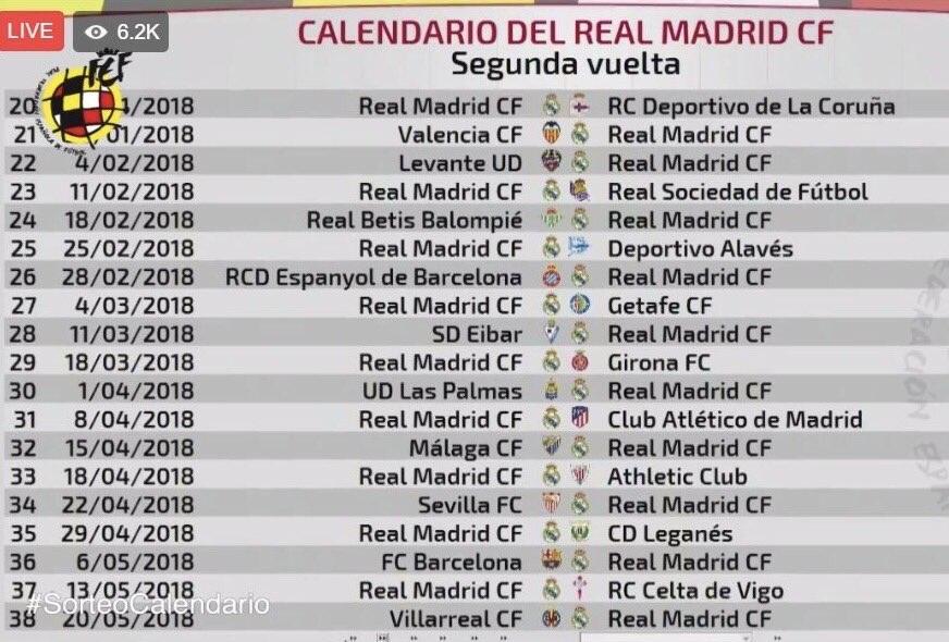 جدول مباريات ريال مدريد كاملا فى الدورى الاسبانى الموسم القادم 2017-2018