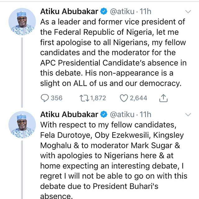 Nigerians reactions as Atiku backed out from the Presidential Debate Last Night