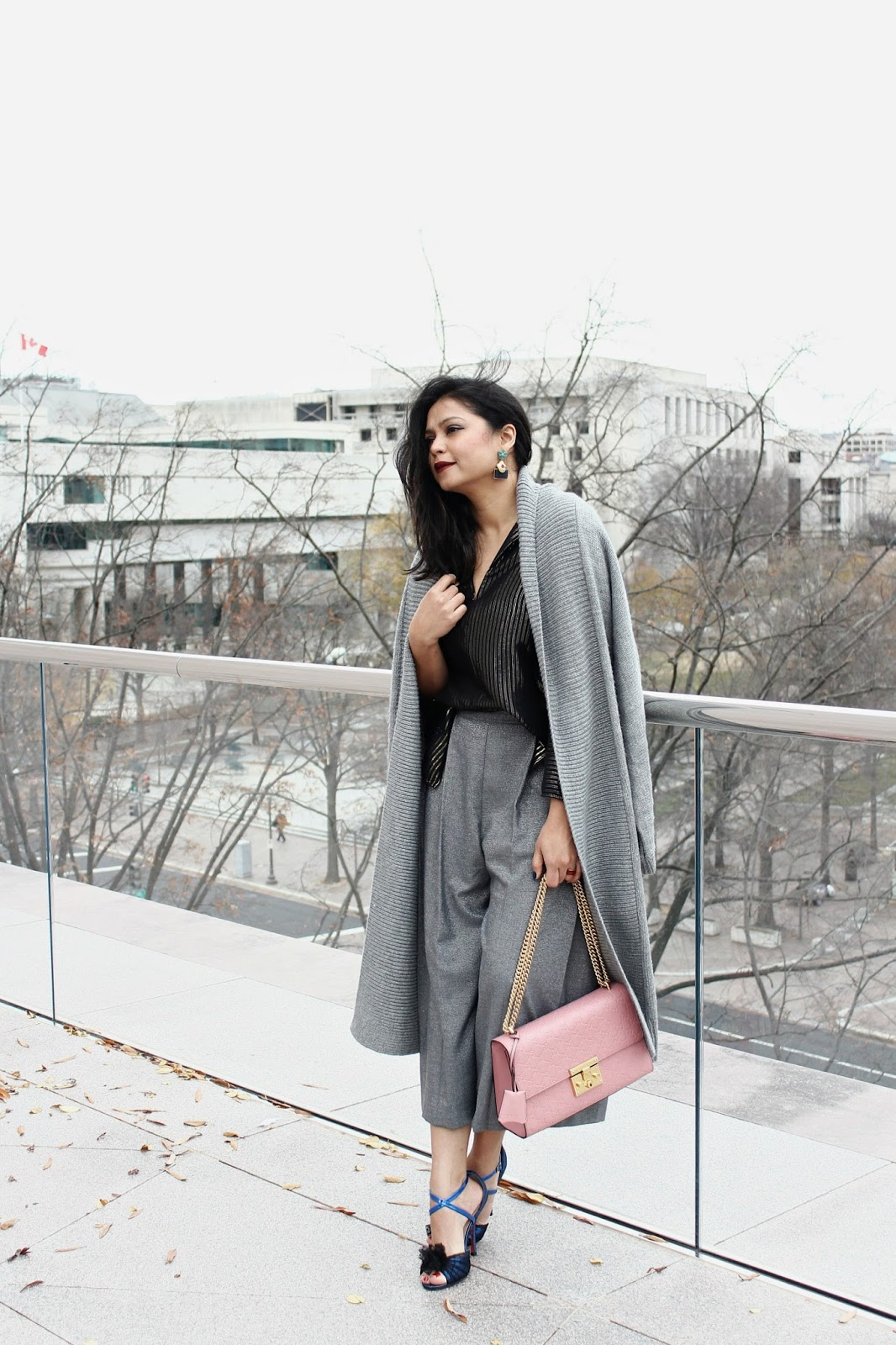 grey gap duster cardigan, zara shiny culottes, bow heels, shiny black shirt