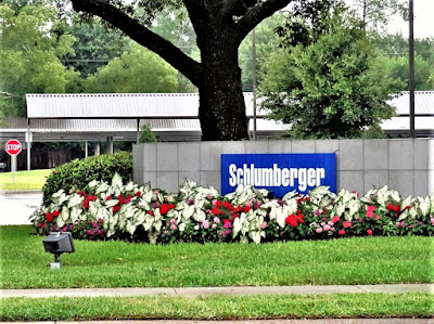 Schlumberger signage on grounds of West Houston office building