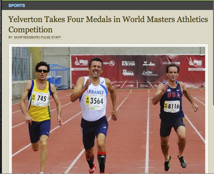 ARTICLE:  Yelverton Takes Four Medals in World Masters Athletics Competition - Lyon, France, 8/15