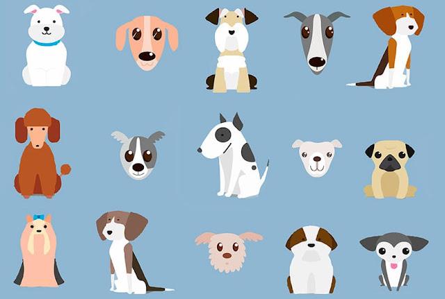 multitud de dibujos de perros de distintas razas