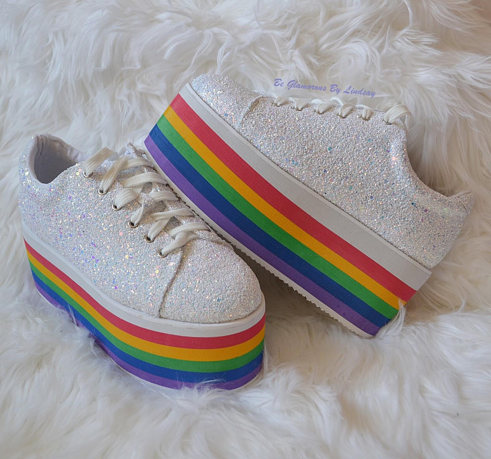 Be Glamorous By Lindsay: Glitter Rainbow Platform Sneakers