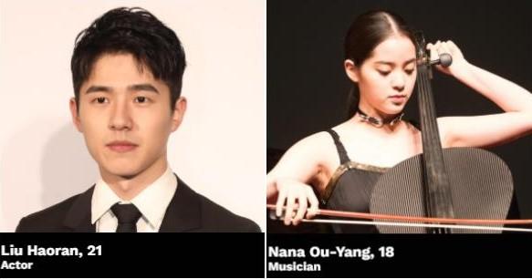 liu haoran ouyang nana forbes 30 under 30