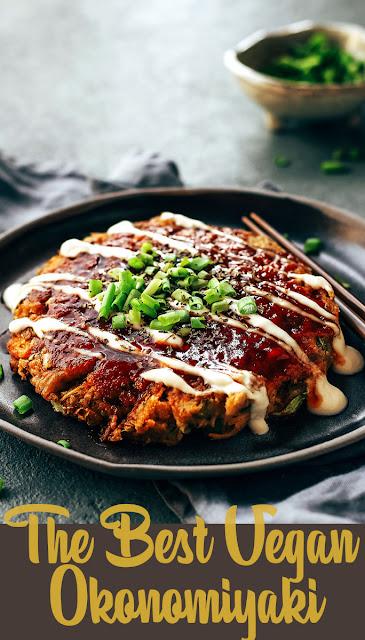 A Japanese savory pancake Okonomiyaki