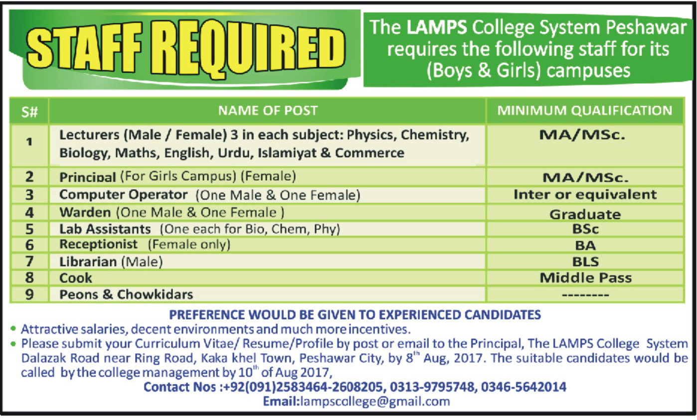 Jobs In The Lamps College System Peshawar Aug 2017