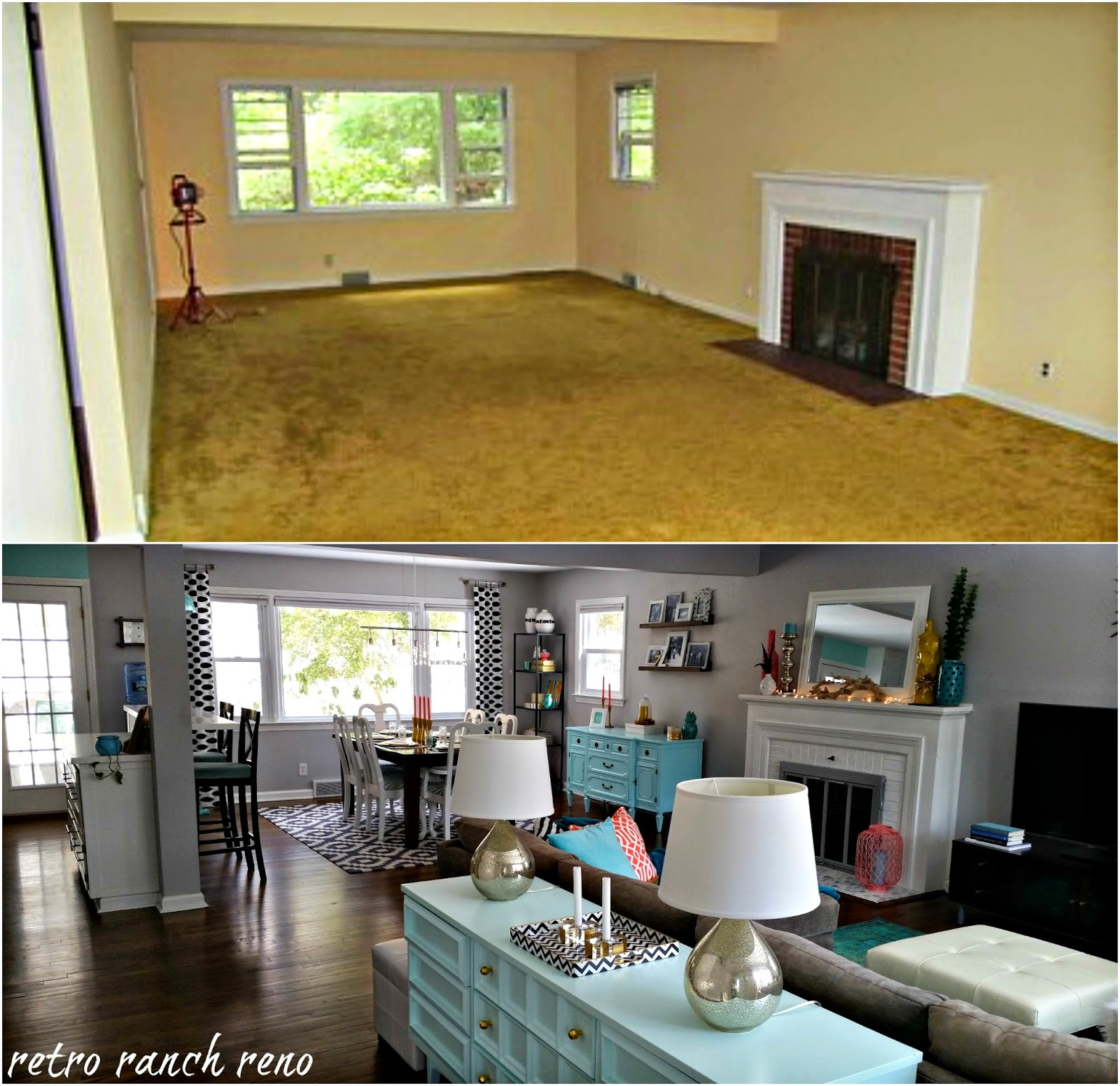 retro ranch reno our rancher before after the living room. Black Bedroom Furniture Sets. Home Design Ideas