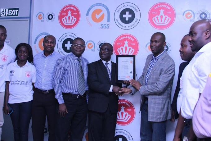 Kasapreko Presented with ISO certificate for quality, safe products
