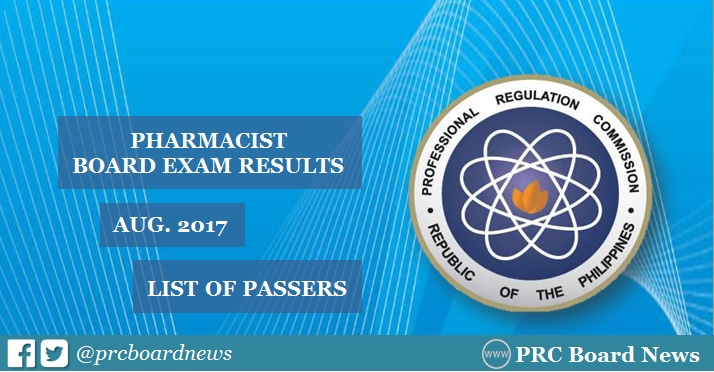 August 2017 Pharmacist board exam list of passers